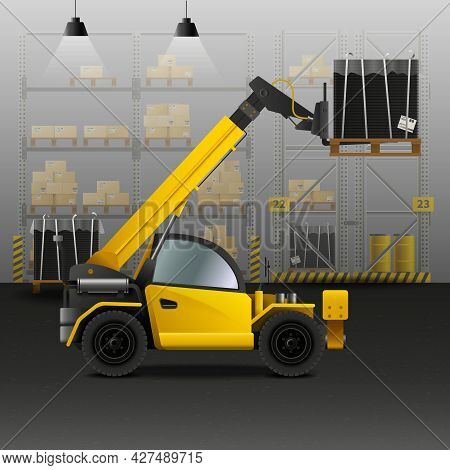 Warehouse And Logistics Composition With Forklift And Cargo Symbols Realistic Vector Illustration