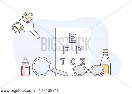 Medicine With Ophthalmologist Checkup With Eye Chart Line Vector Illustration