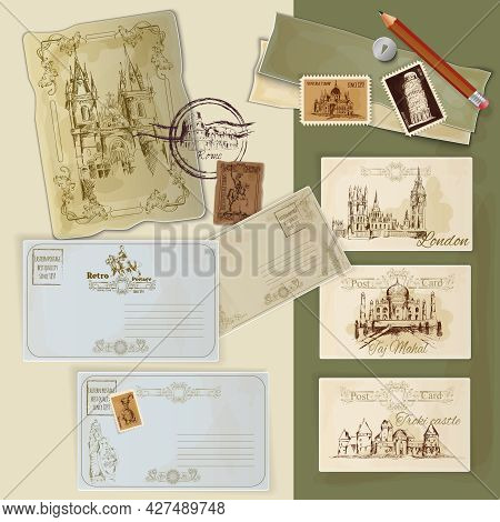 Hand Drawn Vintage Postcards Set With World Landmarks Scrapbooking Template Vector Illustration