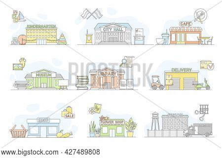 Municipal Services Or City Services For Citizens With Library And City Hall Department Vector Set