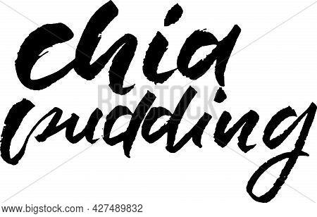 Chia Pudding. Modern Brush Lettering. Vector Illustration.