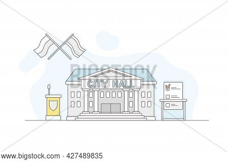 Municipal Or City Services For Citizen With City Hall Department Vector Illustration