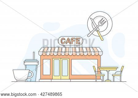 Municipal Or City Services For Citizen With Street Cafe Vector Illustration