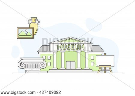 Municipal Or City Services For Citizen With Museum Department Vector Illustration