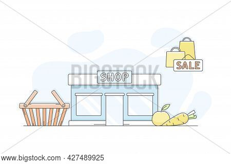 Municipal Or City Services For Citizen With Shop Department Vector Illustration