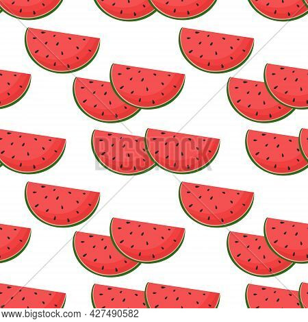Pattern With Watermelons, Vector Illustration. Halves Of Watermelon On A White Background, Seamless
