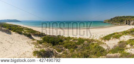 Cave beach is a beautiful beach on the Swansea Peninsula, New South Wales, Australia. Panoramic photo
