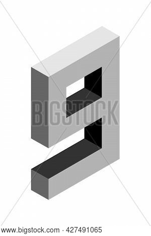 Gray Number 9 In Isometric Style. Isolated On Black Background. Learning Numbers, Serial Number, Pri