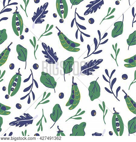 Seamless Pattern With Peas And Salad Leaves. Green Pea. Healthy Green Food. Vegan. Trendy Organic St