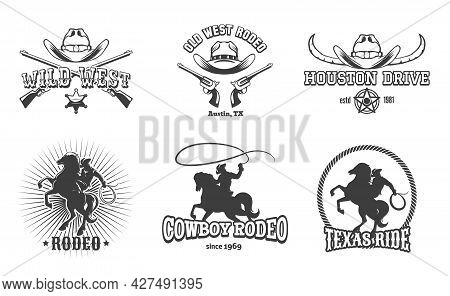 Vector Wild West And Rodeo Labels. Cowboy Texas, Stamp And Hat, American Retro Design. Vector Illust