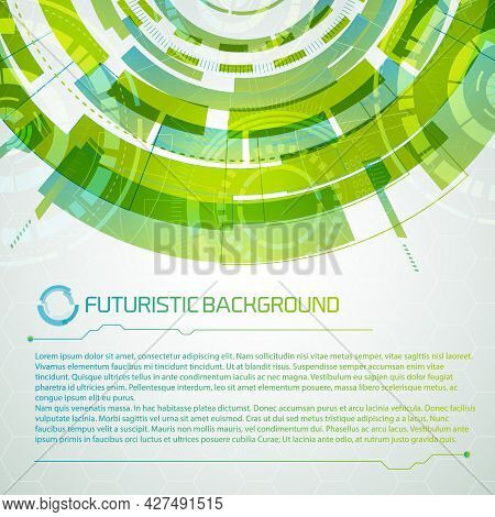 Modern Virtual Technology Conceptual Background With Decorative Composition Of Futuristic Shape Circ