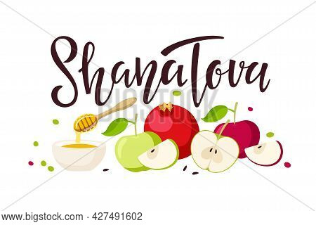 Shana Tova Handwritten Calligraphy Lettering With Apple, Pomegranate, Honey Isolated Composition. Ha