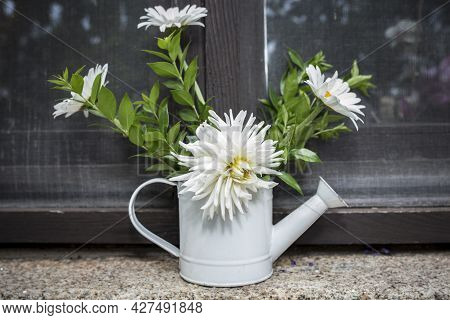 Old Tin Watering Can Reused  As A Vase. Fresh White Flowers Decor Over Windowsill