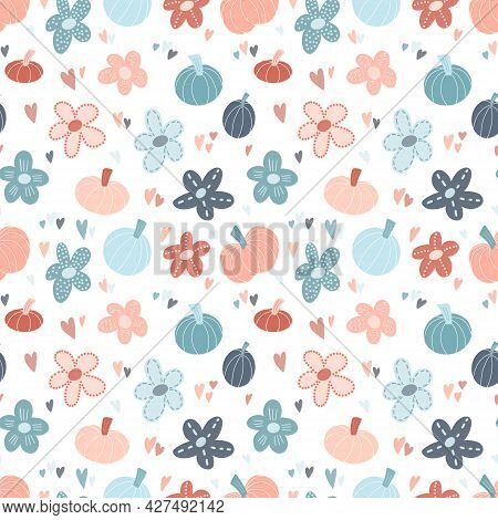 Cute Vector Seamless Patten Background With Hand Drawn Pumpkins, Flowers And Hearts In Simple Childi