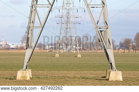 Electricity Pylon Tower, Selective Focus On The Front One