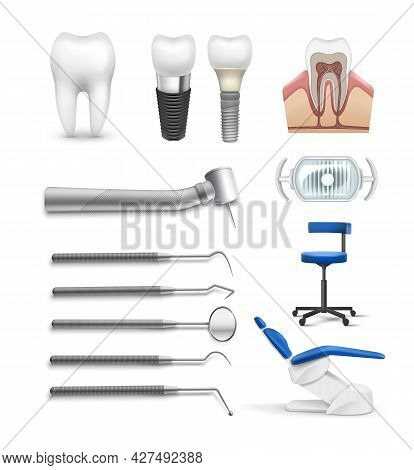Vector Set Of Different Dental Objects Tools, Lamp Chair, Drill, Tooth Implant And Structure Isolate