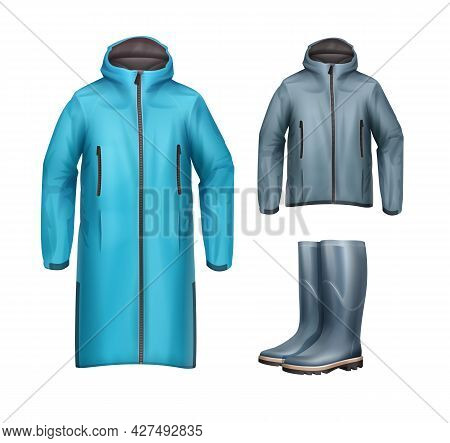 Vector Set Of Long, Short Blue, Gray Unisex Sport Jackets With Hood And Rubber Boots Front View Isol