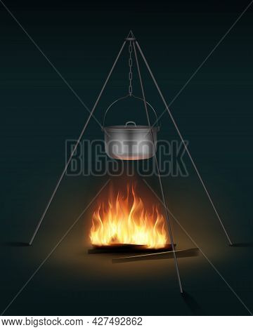 Vector New Shiny Steel Camping Pot With Lid And Handle On Bonfire Side View