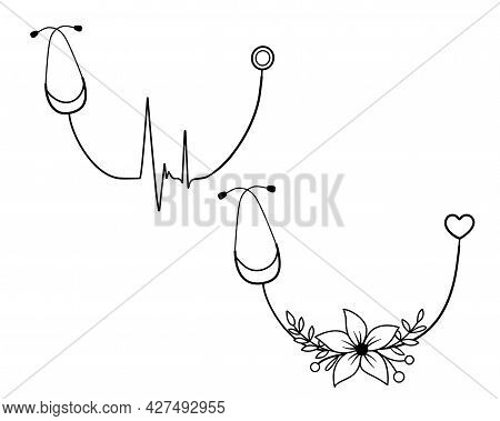 Sign Heartbeat In Stethoscope With Flowers. Vector Illustration. Heartbeat Logo In Outline Style.