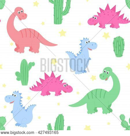 Dinosaurs, Cacti And Stars Seamless Pattern, Vector Illustration. Repeating Childish Background With