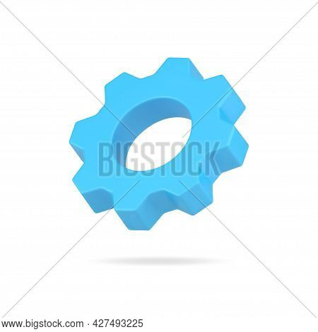 Cogwheel 3d Icon. Blue Optimization And Development Of New Project