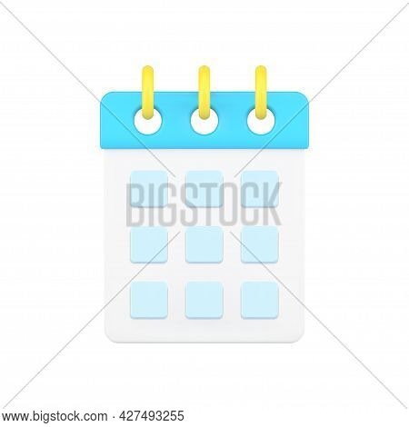 Desktop Calendar 3d Icon. Organizer Page With Cells For Dates And Notes