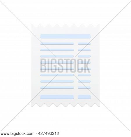 Sales Receipt 3d Icon. Paper Pay Slip With Jagged Ends