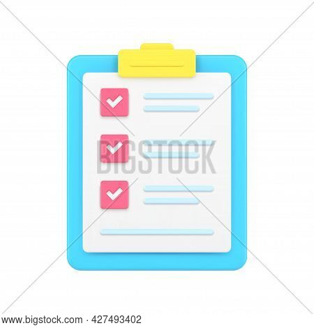 Folder Tablet With Tests 3d Icon. Questionnaire Sheet With Text And Marked Check Marks