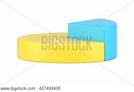 Pie Chart Side View 3d Icon. Infographic Volumetric Yellow Circle With Highlighted Triangular Blue P