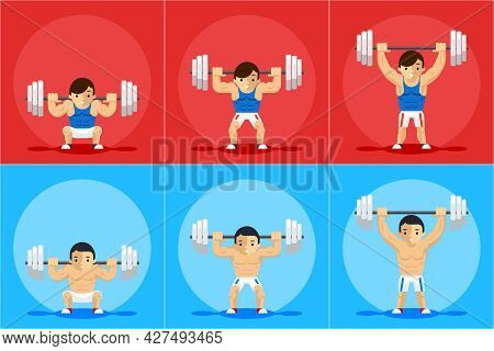 Weightlifting Animation Frames. Sport Training, Barbell And Strength, Order And Manual, Vector Illus