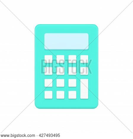 Compact Calculator 3d Icon. Digital Green Gadget With White Buttons