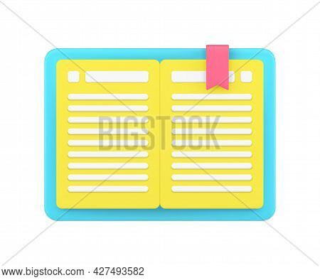 Open Gold Book 3d Icon. Notebook With Cover And Red Bookmark Ribbon