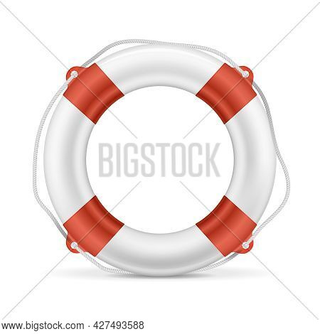 White Lifebuoy With Red Stripes And Rope. Isolated Vector Illustration. Eps10 Opacity