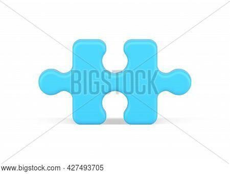 Blue Puzzle 3d Icon. Volumetric Element Diagram With Creative Solution