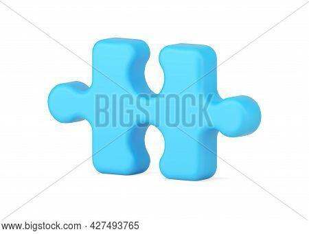 Blue Piece Of Logic Puzzle 3d Icon. Volumetric Element For Solving Problem