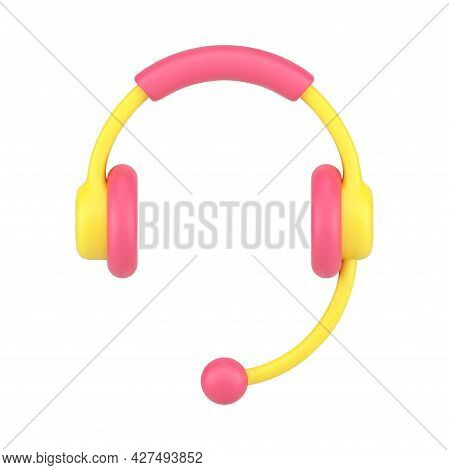 Headphones With Microphone 3d Icon. Yellow Audio Headset With Red Accents