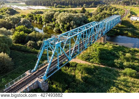 Railway Bridge Over The River, An Old Construction From The Early 20th Century. Protva River, Kaluzh