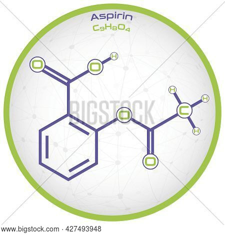 Large And Detailed Infographic Of The Molecule Of Aspirin