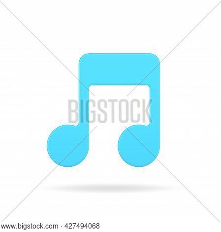 Blue Note 3d Icon. Musical Volumetric Symbol Of Creativity
