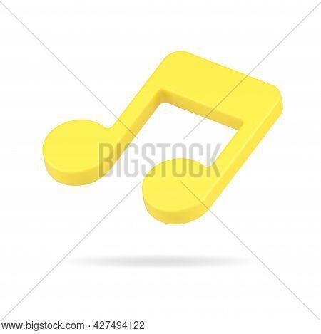 Creative Golden Note 3d Icon. Volumetric Music Tone Symbol