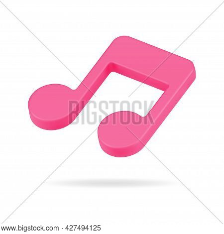 Red Note 3d Icon. Classical Music Tone Symbol