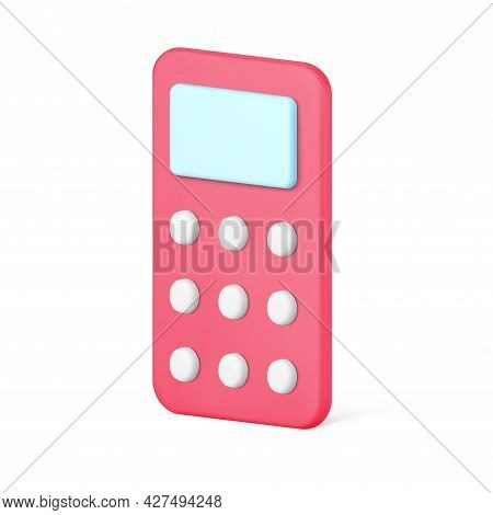 Wireless Remote Control 3d Icon. Red Device For Wireless Communication With Gadgets
