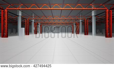 Warehouse Interior Realistic Background With Floor Room And Ceiling Vector Illustration