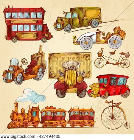 Vintage Transport Steampunk Historical Vehicle Sketch Colored Decorative Icons Set Isolated Vector I