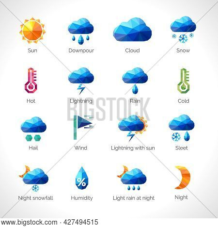 Weather Forecast Polygonal Icons Set With Sun Cloud Rain Snow Symbols Isolated Vector Illustration