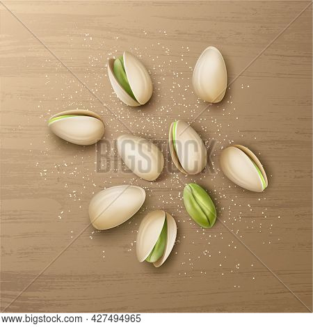 Vector Realistic Handful Of Whole And Cracked Pistachio Nuts With Salt Top View Isolated On Wooden T