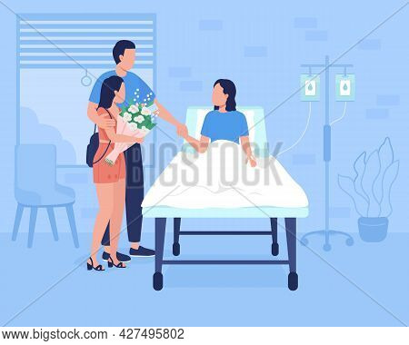 Family Support For Hospitalized Patient Flat Color Vector Illustration. Providing Help For Sick Pers