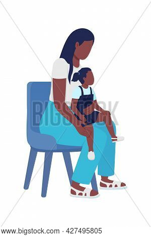 Young Woman With Kid Semi Flat Color Vector Characters. Sitting Figure. Full Body People On White. W