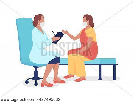 Woman Talking To Healthcare Professional Semi Flat Color Vector Characters. Full Body People On Whit