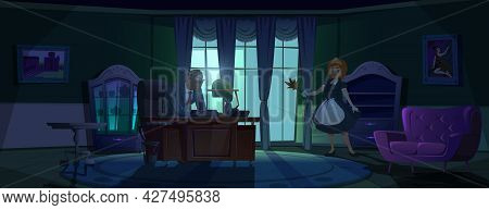 Maid In Principal Cabinet, Young Housemaid In Uniform With Feather Brush In Hands Stand Front Of Tab